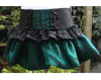 SALE gothic Lolita skirt 80s skirt rara style.  dark green organza & black with corset front panel