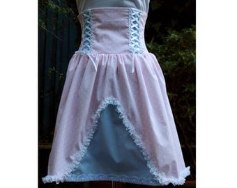 sweet lolita jumper skirt. boned high waist, pastel pink & white polka dot and blue. One of a kind