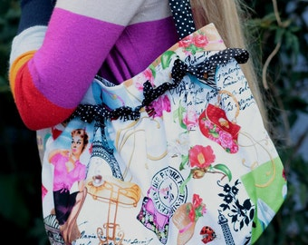 SALE I love Paris purse - roomy shoulder bag polka dot frills and handles