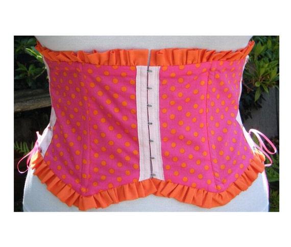 SALE 20% off  Waist cincher Circus waspie. cerise pink with orange polka dots. underbust corset