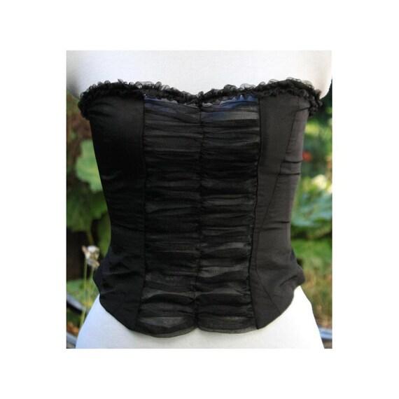 halloween corset burlesque corset . Black taffeta bodice with see-through organza front panel