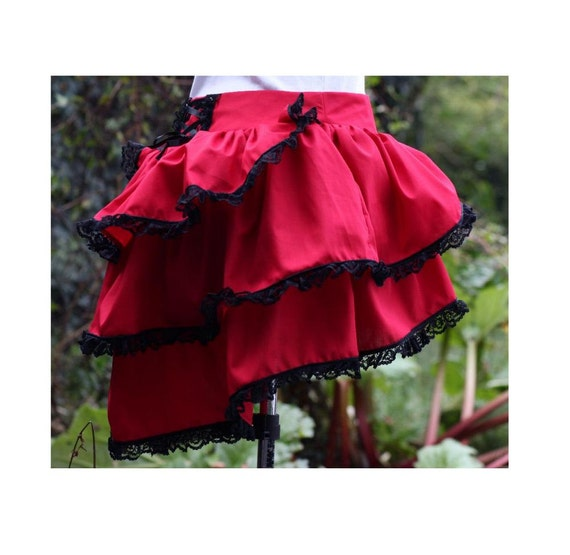 cherry red bustle skirt with dropped waist, back corset style lacing and black lace