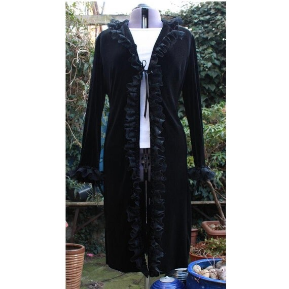 Victorian black velvet corset long coat  Revamped. Upcycled. Steampunk. Gothic Lolita. One off