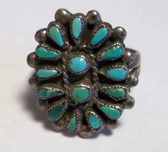 Vintage Sterling Silver, Turquoise Cluster Ring Hand Made Navajo Silver Work size 10
