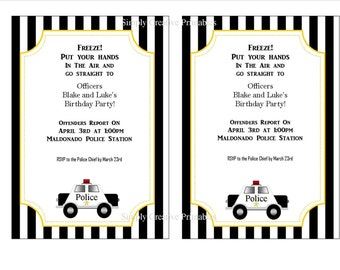You are Under Arrest Police Themed Party Printables