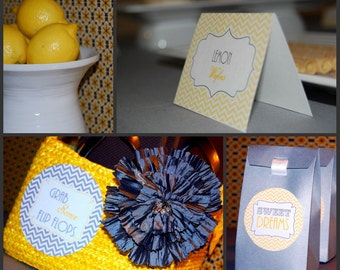 Modern Yellow and Gray Chevron Collection