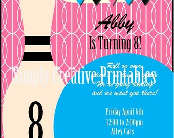 Girly Bowling Themed Party Invitation and Address Labels