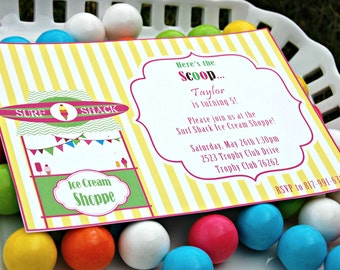 Surf Shack Ice Cream Party Invitation with Matching Envelope Wrappers