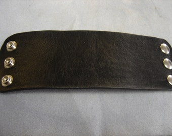 Black Leather 3 inch Leather cuff