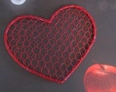 Bright Red Wire Heart Wall Decor