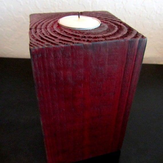 Rustic tea candle holder in Dark Red