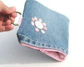 Gadget Case. Denim Wallet with Recycled pink buttons and pink zipper. Ready to Ship ON SALE