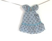 "Baby Doll Dress. Turquoise Geometric Pattern. American Girl 18"" Doll. OOAK."
