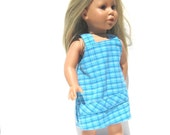 Doll Dress. American Girl 18 inch Doll size: upcycled clothing turquoise plaid imaginative play