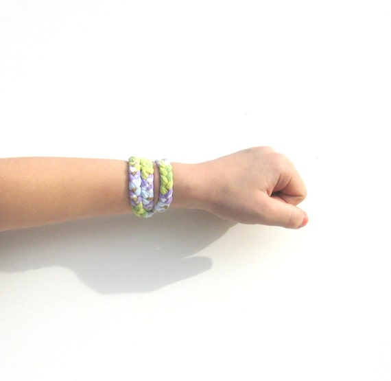 Girls Bracelet Braided T-Shirt in green and purple: Braided T Bracelets Ready to Ship