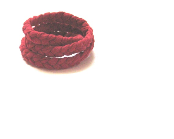 Cotton Bracelet. Braided in Red. Ready to Ship.