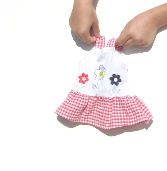 Doll Dress. 12 inch doll fit. OOAK. Upcycled Clothing. Red Gingham and flowers. Fourth of July. Flowers.