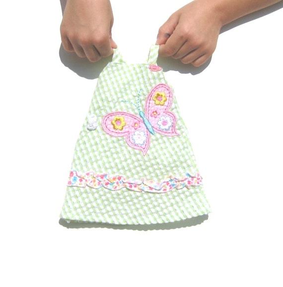 Doll Dress. 12 inch Doll fit, Corolle Soft Dolls, Premie Cabbage Patch Kids. Green and White Gingham. Butterfly. OOAK.