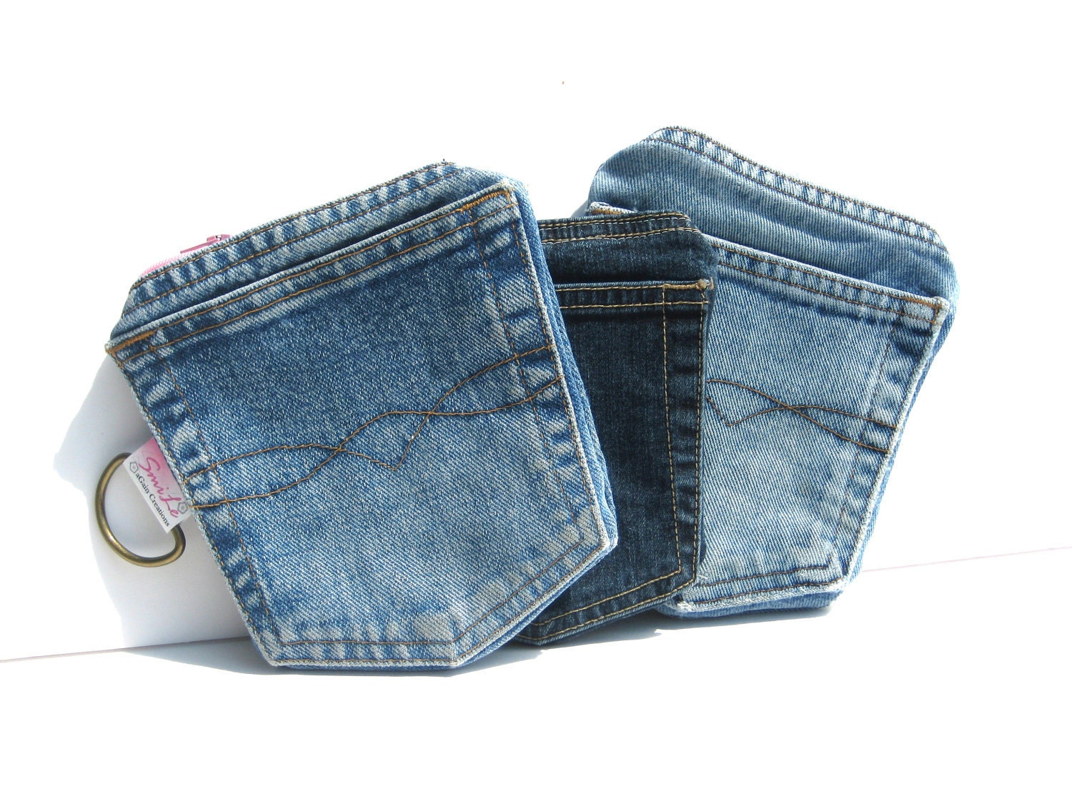 Denim Pockets Wallet with zipper for iPhone. MADE TO ORDER Men