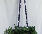 Purple 59 Inch White Beads Macrame Plant Hanger