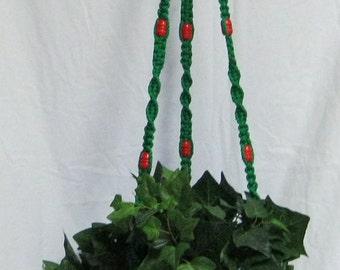 Christmas Green 54 Inch Red Beads Macrame Plant Hanger