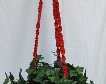Red/Gold Speckles 56 Inch No Beads Macrame Plant Hanger