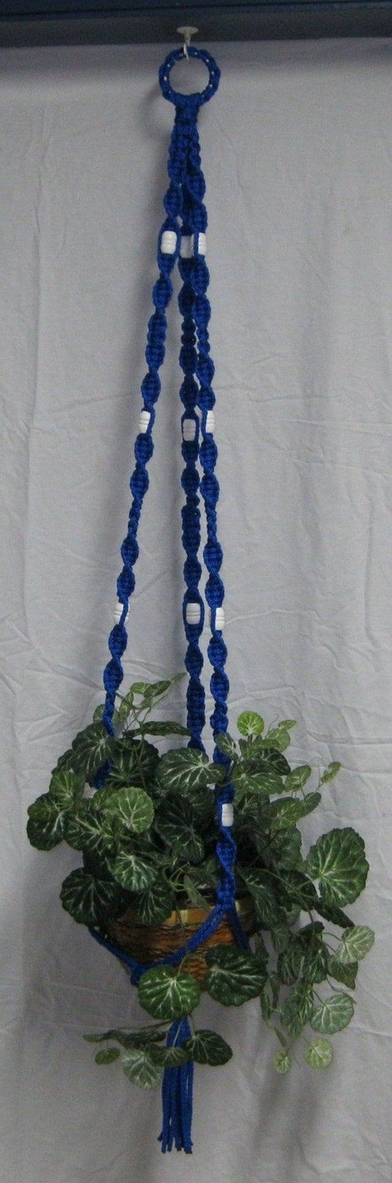 Royal Blue Macrame Plant Hanger