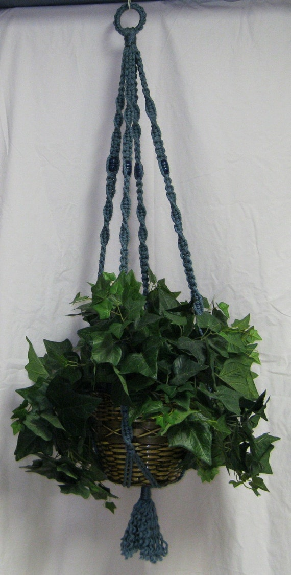Blue Beads Country Blue Macrame Plant Hanger Blue Beads