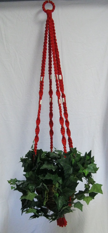 Red 55 Inch White beads Macrame Plant Hanger