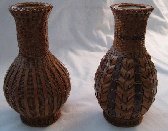 Vintage Bamboo Ornate Wicker Covering Glass Bottles Set Of 2