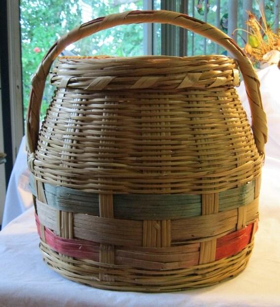 Vintage floor round wicker storage basket with handle lid - Round wicker hamper with lid ...