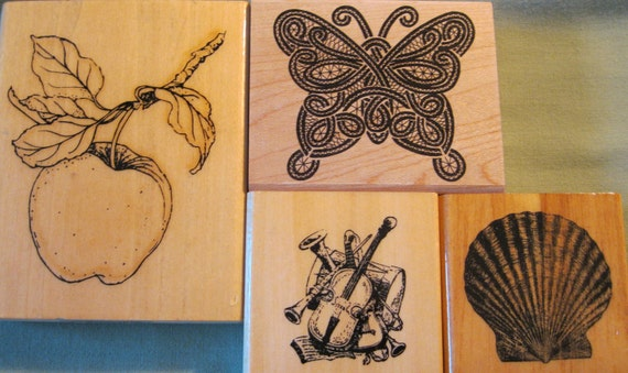 Butterfly Shell Apple Musical Instruments Rubber Stamp Lot Of 4