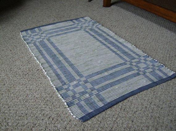 Blue And White Classic Handwoven Area Rug Log Cabin Style