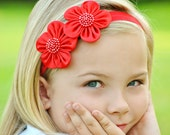 Red Bow, Red Flower, Red Flower Bow, Baby Bow, Baby Headband, Infant Bow, Infant Headband, Girls Bow, Girls Headband, Baby Flower Headband
