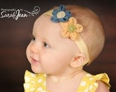 Infant Bow, Infant Headband, Baby Bow, Baby Headband, Girls Bow, Girls Headband, Flower Headband, Sunny Days or Cloudy Skies Bow