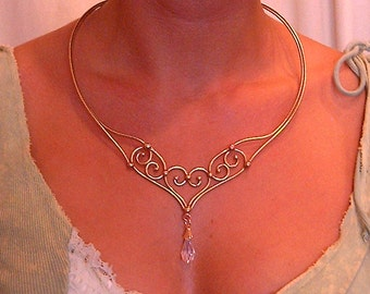 Bronze & Crystal Necklace