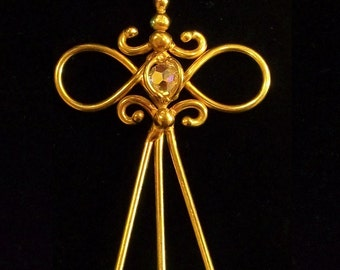 Bronze & Crystal Triple Hair Stick (Variation-1)