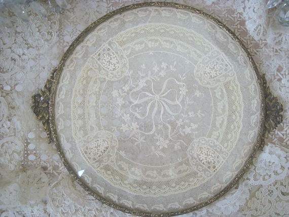 Exquisite Vintage Vanity Tray With Lace Doily Bows