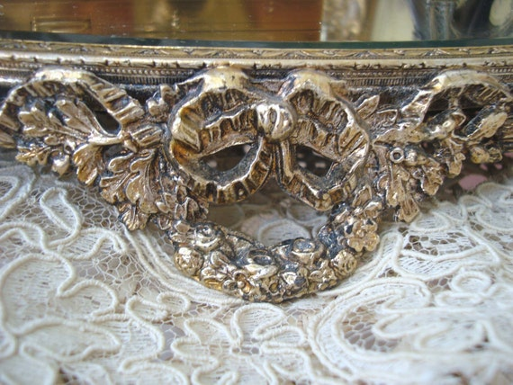 Magnificent Vintage Oval Plateau Mirror Vanity Mirror Tray With French Wreaths, Bows & Swags