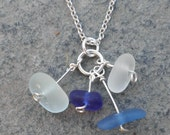 Sea Glass Pendant with Sea Glass Charms in Blues