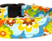 "Mod Blue Flower  Dog Collar - 1"" WIde  - Medium & Large Sizes"