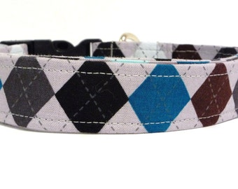 Gray Argyle Dog Collar, Argyle Dog Collar, Preppy Dog Collar, Boy Dog Collar (Leash Available)
