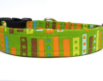 Retro Green Dog Collar and Leash, Retro Collar, Green Dog Collar, Boy Dog Collar, Green and Orange Dog Collar