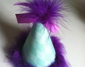 Aqua Blue and Purple Party Hat