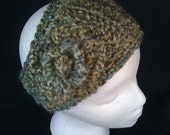 Olive Green Crochet Headband - Adult