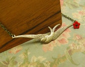 Swallow Bird Necklace Antiqued Brass and Bronze Chain with Red Czech Glass Flower Bead