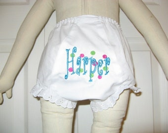 Personalized Bloomer Diaper Cover Toddler Bloomers Curlz & Dots Monogrammed Bloomer Diaper Cover