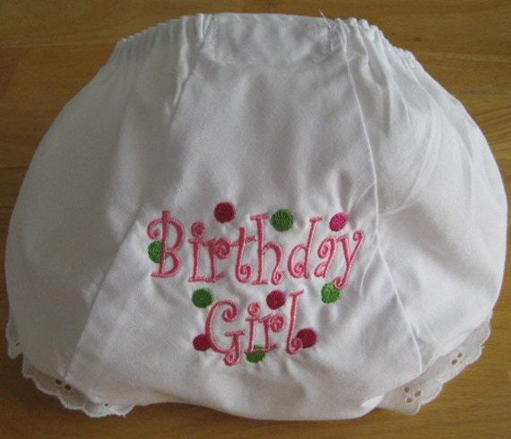 Personalized  Birthday Bloomer Diaper Cover Curlz & Dots Birthday Girl