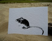 Mouse - black ink on white 5x7 watercolor paper - Screen print
