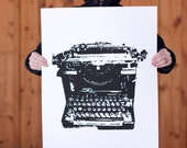 Large Typewriter- Black Hand Pulled Screen Print on 22x28 watercolor paper